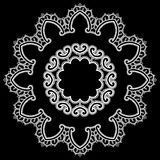 Round Frame - floral lace ornament - white on black background. Royalty Free Stock Photos