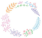 Round frame flover garland. Round frame flover leaves and branch garland - watercolor vector template Royalty Free Stock Photos