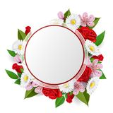 Round frame with flower bouquet from rose, daisy, cherry flower. Round paper frame with flower bouquet from rose, daisy, cherry flower and leaf. Realistic vector Royalty Free Stock Photography