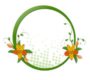 Round frame with flowers Stock Photo