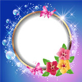Round frame and flowers Royalty Free Stock Images
