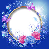 Round frame and flowers Stock Photos