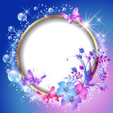 Round frame and flowers Royalty Free Stock Photos