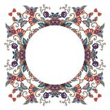 Round frame with flowers, hearts and birds on white background. Can be used for cards, bandana prints, kerchief design, pillowcase, tablecloths and napkins Stock Images