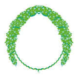 Round frame with flowers and ribbons. White roses braided in a wreath Stock Photography