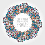 Round frame of flowers and some floral elements. Nice soft colors. Hand draw illustration. Greeting card. Stock Images