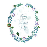 Round frame of flowers and some floral elements. Stock Photography