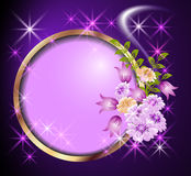 Round frame and flowers Royalty Free Stock Photography