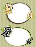 Round frame with flowers on striped background. Illustration Royalty Free Stock Photos