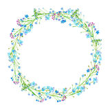 Round frame of a forget-me-not flowers. Green and blue floral wreath.Watercolor hand drawn illustration Royalty Free Stock Images