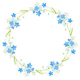 Round frame with forget-me-nots flowers. Green and blue floral wreath.Watercolor hand drawn illustration royalty free illustration