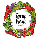 Round frame of fresh vegetables Stock Images