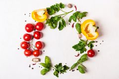 Round frame of fresh vegetables, herbs and spices. Healthy eating concept.  stock images