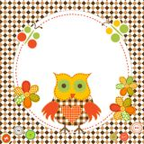 Round frame with cartoon owl in patchwork style Royalty Free Stock Photo