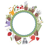 Round frame with gardening tools and plants. Herbs Stock Photography