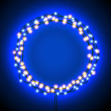 Round frame with garlands and lights Stock Images
