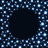 Round Frame with Glitter Stars isolated on Dark Stock Photography