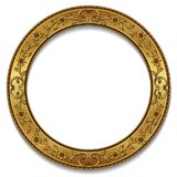 Round frame gold color with shadow Stock Photography