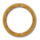 Round frame gold color with shadow Royalty Free Stock Images