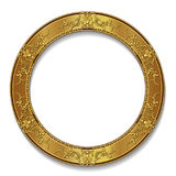 Round frame gold color with shadow Royalty Free Stock Photos