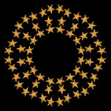 Round frame with gold star on the black background Royalty Free Stock Image