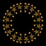 Round frame with gold star and dot on the black background Royalty Free Stock Photos
