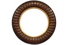 Round Frame. Round golden frame isolated on a white background stock photos