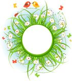 Round frame with grass and birds. Round frame with green grass, flowers and birds Royalty Free Stock Photo