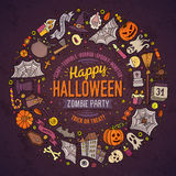 Round frame Halloween cartoon objects, symbols and items Royalty Free Stock Image