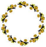 Round frame with Halloween cats and pumpkins Stock Photos