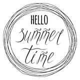 Round frame with hand drawn text Hello Summer time Royalty Free Stock Photos