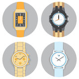 Round Frame Hand Watch Set , Flat Vector Illustration Royalty Free Stock Photography