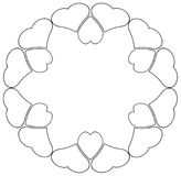 Round frame of hearts in black color. Outline Royalty Free Stock Photos