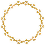Round frame with hearts of gold Royalty Free Stock Photography