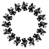Round frame with holly berries silhouettes. Copy space. Stock Photos