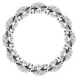 Round frame with holly berries silhouettes. Copy space. Stock Images