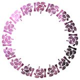 Round frame with holly berries silhouettes. Stock Photography