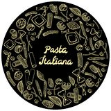 Round frame with italian macaroni of different kinds. light yellow coloured hand draw on black background. Vector illustration stock illustration