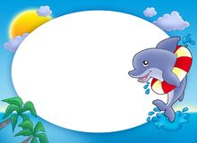 Round frame with jumping dolphin. Color illustration Royalty Free Stock Images