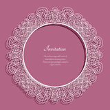 Round frame with lace border pattern Stock Image