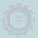 Round frame with lace border pattern. Cutout paper ornament, curly circle decoration, template for laser cutting or wood carving Stock Photo