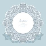Round frame with cutout lace border pattern Royalty Free Stock Photos