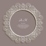 Round frame with lace border pattern Royalty Free Stock Photo