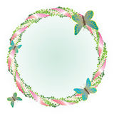 Round frame with leaves and butterflies. Stock Photo