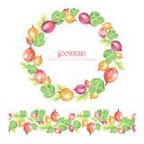 Round frame of leaves, gooseberry and seamless ornamental stripe Stock Image