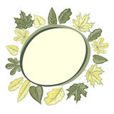 Round frame with leaves Stock Image
