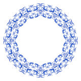 Round frame with light blue pattern of flowers and birds in gzhel style. Stock Photo