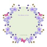 A round frame of lilac flowers, twigs with small flowers and pink butterflies. vector illustration