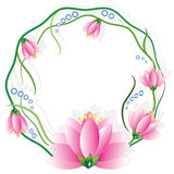 Round frame with lotuses Stock Photography