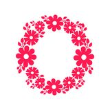 Round Frame Made of Blooming Flowers Vector Icon. Round frame made of blooming flowers vector illustration decorative border with red blossoms and leaves Stock Photography